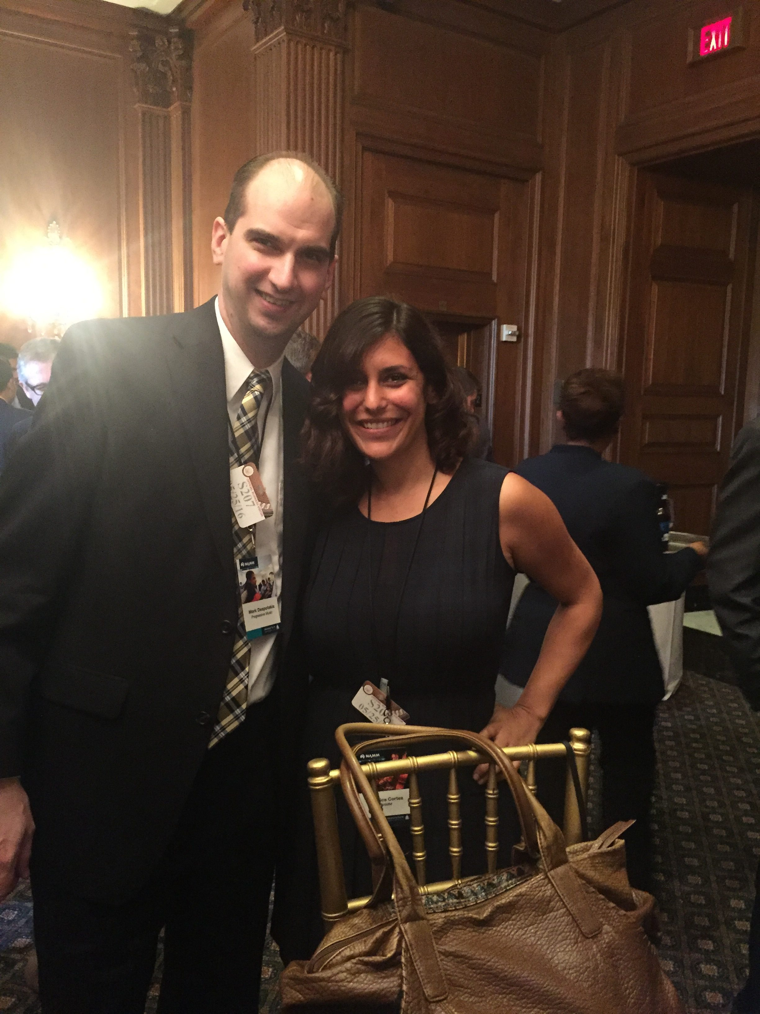 Progressive Music's Mark Despotakis with NAMM's Jessica Cortez at the Music Education Congressional Reception.